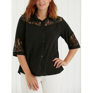 Plus Size Lace Spliced Hollow Out Blouse - Black - Xl