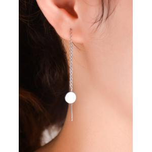Pair of Round Pendant Long Chain Ear Threads