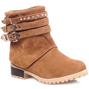 Metal Buckle Slip On Suede Ankle Boots - Brown - 39