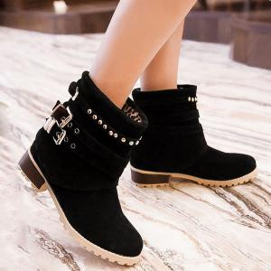 Metal Buckle Slip On Suede Ankle Boots