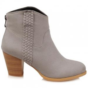 Zip Back Weaving Suede Wooden Heel Ankle Boots
