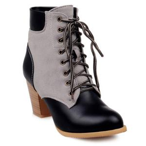 Splicing Wooden Heel Tie Up Ankle Boots
