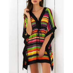 Butterfly Sleeves High Waist Striped Dress
