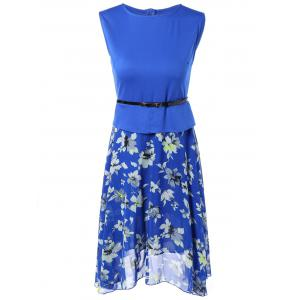 Sleeveless Spliced Floral Print Chiffon Peplum Dress - Blue - M