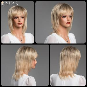 Medium Layered Straight Full Bang Siv Real Natural Hair Wig