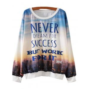 Sunset City Letter Print Loose Sweatshirt