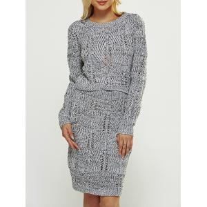 Cut Out High Waist Sweater Two Piece Dress