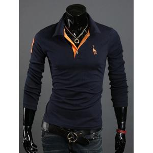 Animal Print Long Sleeve Slim-Fit Polo T-Shirt