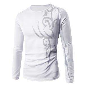 Round Neck Long Sleeve Abstract Pattern T-Shirt - White - 2xl