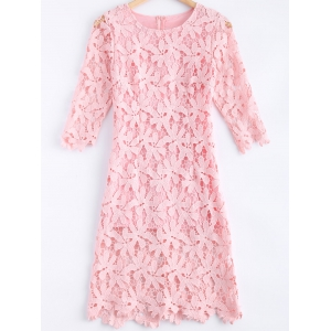 Lace A Line Half Sleeve Midi Dress