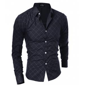 Grid Long Sleeve Button Up Shirt For Men