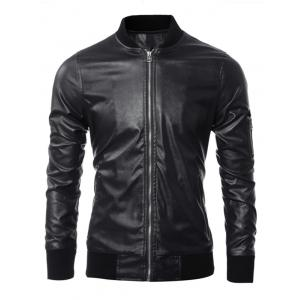 Zippered Rib Splicing Stand Collar Long Sleeves PU Leather Jacket - Black - M