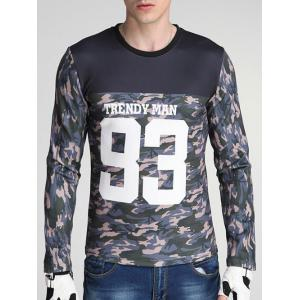 Camouflage and Letter Print Spliced Design Round Neck Long Sleeve Sweatshirt