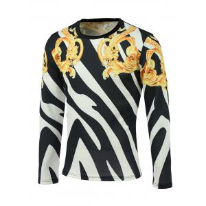 Floral and Color Block Print Round Neck Long Sleeve Sweatshirt - Colormix - M