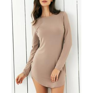 Long Sleeve Pure Color Club Dress