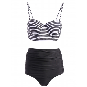 Stripe Spaghetti Strap Push-Up Swimsuit with High Waisted Bottom