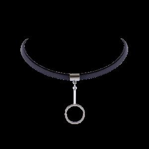 Circle Faux Leather Choker Necklace