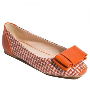Weaving Bow PU Splice Flat Shoes - Orange - 38