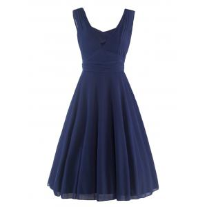 Mesh Insert Plunge Sleeveless Skater q940 Swing Dress - Purplish Blue - 2xl