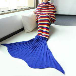 Good Quality Comfortable Stripe Knitting Sofa Mermaid Blanket - Colormix