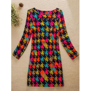 Colorful Houndstooth Jewel Neck Dress