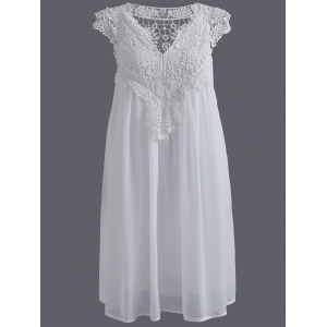 Plus Size Crochet Panel Short Formal Shift Dress - White - 5xl
