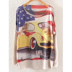 American Flag Car Print Loose Knitwear