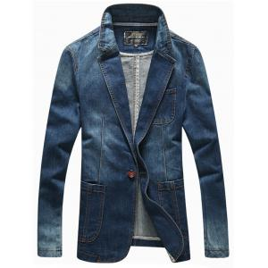 Patch Pockets Front Lapel Long Sleeve One-Button Denim Jacket - Deep Blue - M