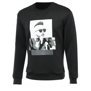 Figure and Camouflage Print Round Neck Long Sleeve Sweatshirt For Men