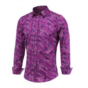 Chic Lines Print Turn-Down Collar Long Sleeve Shirt For Men