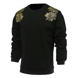 Chic Flower Design Round Neck Long Sleeve Simple Black Sweatshirt For Men