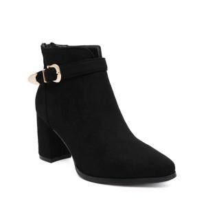 Zipper Buckle Flock Ankle Boots