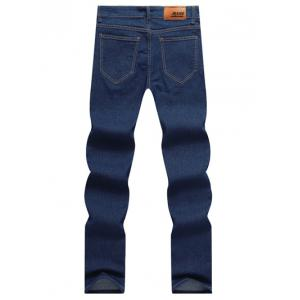 Solid Color Zipper Fly Straight Leg Jeans For Men - BLUE 36