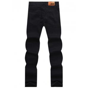 Solid Color Zipper Fly Straight Leg Jeans For Men - BLACK 33