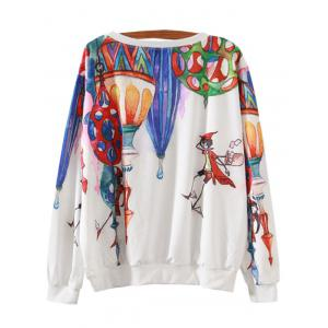 Magical Castle Cartoon Print Loose Sweatshirt - WHITE XL