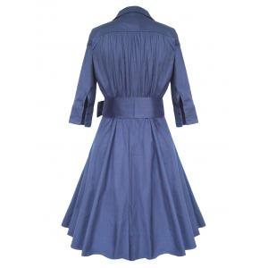Shirt Coat Wrap Dress With Belt - PURPLISH BLUE 2XL