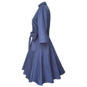 Shirt Coat Wrap Dress With Belt - PURPLISH BLUE L