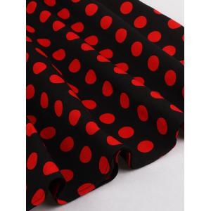 Halter Flare Polka Dot Dress - RED/BLACK 4XL