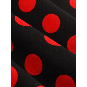 Halter Flare Polka Dot Dress - RED WITH BLACK 4XL