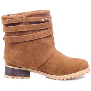 Metal Buckle Slip On Suede Ankle Boots - BROWN 39