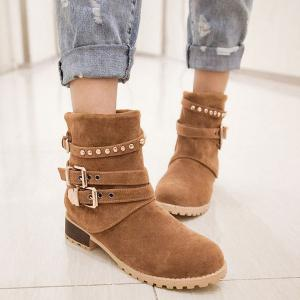 Metal Buckle Slip On Suede Ankle Boots -