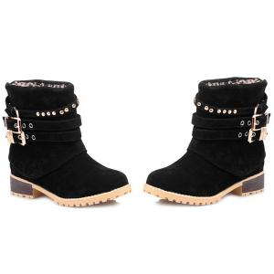 Metal Buckle Slip On Suede Ankle Boots - BLACK 39