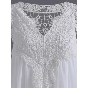 Plus Size Crochet Panel Short Formal Shift Dress - WHITE 5XL
