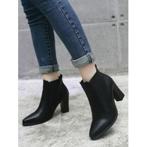 Chunky Heel Pointed Toe Elastic Ankle Boots -
