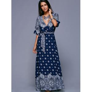 Bohemian Slit Print Long Wrap Dress - PURPLISH BLUE ONE SIZE(FIT SIZE XS TO M)