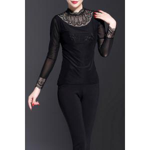 Long Sleeve Lace Insert Top