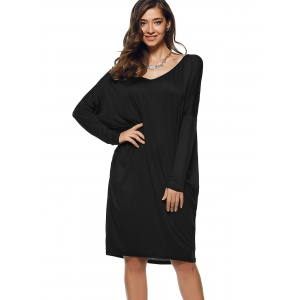 Long Sleeve Loose Backless Dress -