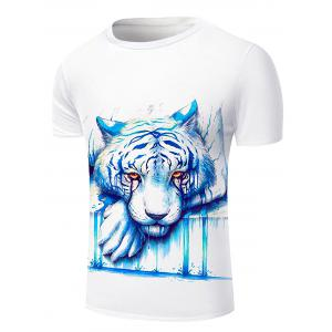 Round Neck 3D Crying Lion Print Short Sleeve Stylish T-Shirt For Men - WHITE 2XL