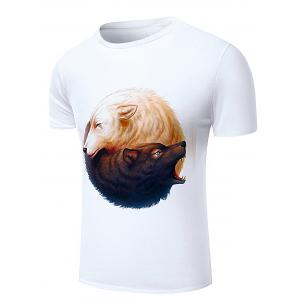 Round Neck 3D Wolfs Print Short Sleeve Stylish T-Shirt For Men - WHITE 2XL