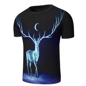 Round Neck 3D Starry Sky and Elk Print Short Sleeve Stylish T-Shirt For Men -
